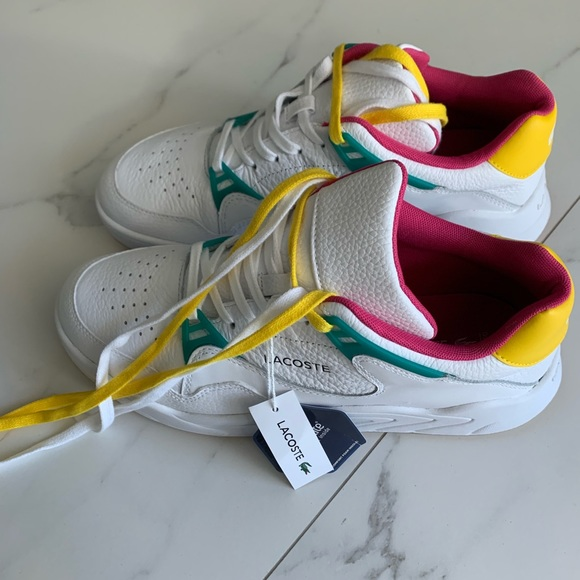 Lacoste Shoes   Lacoste White Yellow